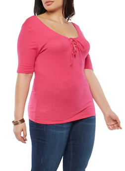 Plus Size Basic Lace Up Top - ROSE FUSHIA - 1915054269937