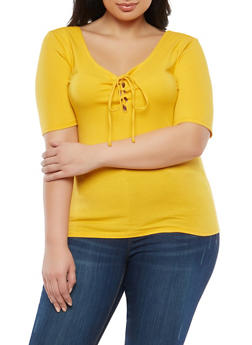 Plus Size Basic Lace Up Top - NEW MUSTARD - 1915054269937