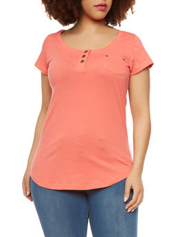 Plus Size Top with Buttons and Chest Pocket - 1915057280151