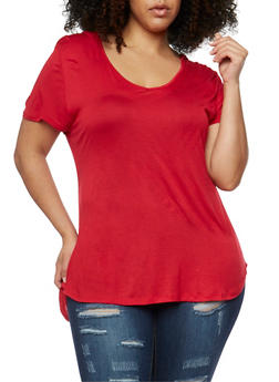 Plus Size Short Sleeve Hooded V Neck Top - 1915058930109