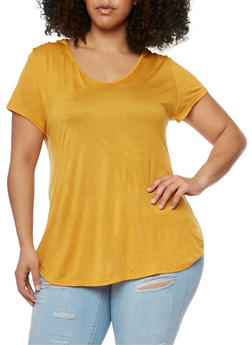 Plus Size Short Sleeve Hooded V Neck Top - MUSTARD - 1915058930109