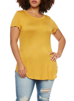 Plus Size Tunic Top with Scoop Neck - MUSTARD - 1915058930118