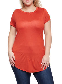 Plus Size Tunic Top with Scoop Neck - 1915058930118