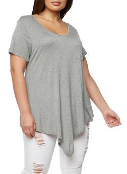 Plus Size V Neck Short Sleeve T Shirt - 1915058930204