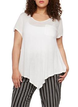 Plus Size V Neck Short Sleeve T Shirt - WHITE - 1915058930204