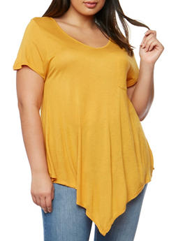 Plus Size V Neck Short Sleeve T Shirt - MUSTARD - 1915058930204