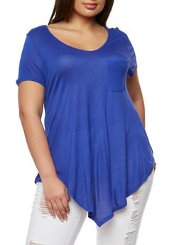 Plus Size V Neck Short Sleeve T Shirt - 1915058930204
