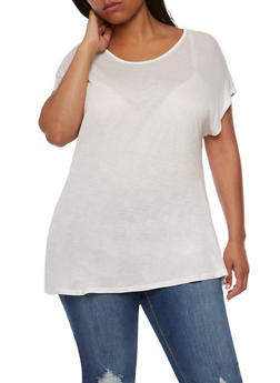Plus Size Short Sleeve Tunic Top - WHITE - 1915058930207