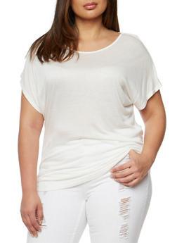 Plus Size Scoop Neck Tunic Top - WHITE - 1915058930215