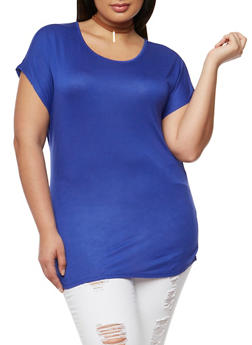 Plus Size Scoop Neck Tunic Top - 1915058930215
