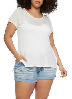 Plus Size High Low Short Sleeve T Shirt - 1915058930231