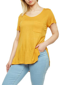 Plus Size High Low Short Sleeve T Shirt - MUSTARD - 1915058930231