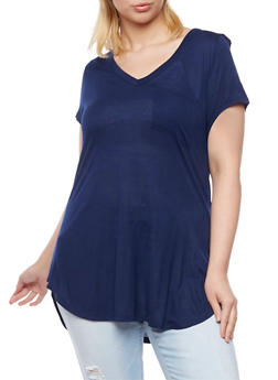 Plus Size Tunic Top with V Neck - 1915058930403
