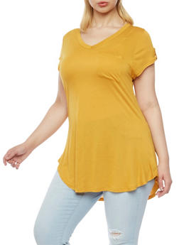 Plus Size V Neck Tee with Pocket and Tab Sleeves - MUSTARD - 1915058930504