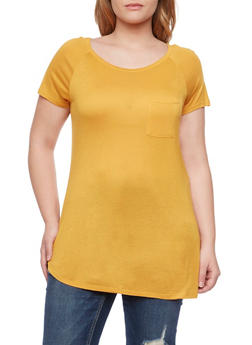 Plus Size Pocket Tee - MUSTARD - 1915058930804