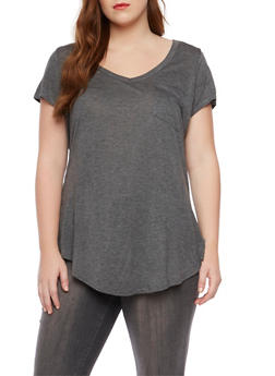 Plus Size V Neck Tee with Pocket - 1915058930805