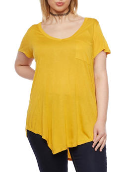 Plus Size V Neck Tee with Pocket - MUSTARD - 1915058930805