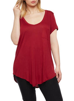 Plus Size V Neck Tee with Pocket - BURGUNDY - 1915058930805