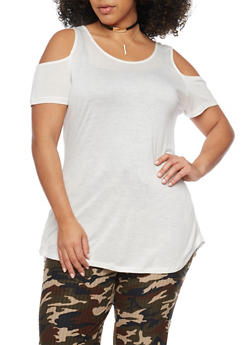 Plus Size Cold Shoulder Tunic Top - IVORY - 1915058930806