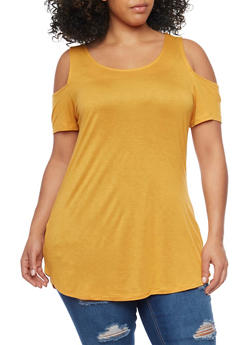 Plus Size Cold Shoulder Tunic Top - MUSTARD - 1915058930806
