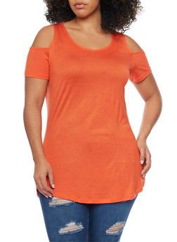 Plus Size Cold Shoulder Tunic Top - 1915058930806
