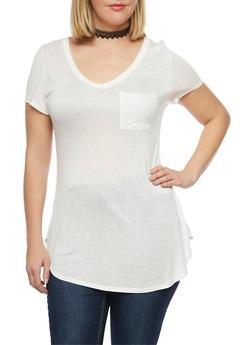 Plus Size V Neck Pocket T Shirt - IVORY - 1915058930807