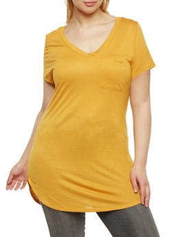 Plus Size V Neck Pocket T Shirt - MUSTARD - 1915058930807