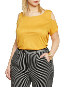 Plus Size Cold Shoulder Tunic Top - MUSTARD - 1915058933104