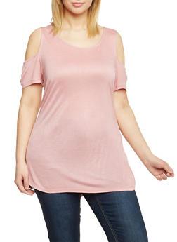 Plus Size Cold Shoulder Tunic Top - BLUSH - 1915058933104