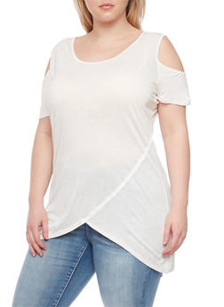 Plus Size Cold Shoulder Asymmetrical Top - IVORY - 1915058933225