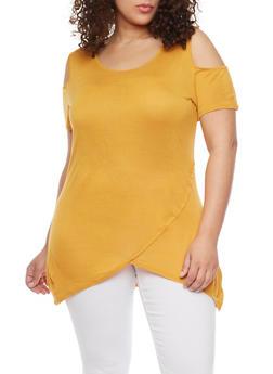 Plus Size Cold Shoulder Asymmetrical Top - MUSTARD - 1915058933225