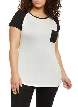 Plus Size Short Sleeve Raglan T Shirt - BLACK - 1915058933406
