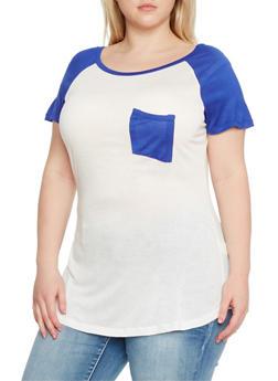 Plus Size Short Sleeve Raglan T Shirt - 1915058933406