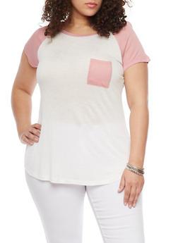 Plus Size Short Sleeve Raglan T Shirt - BLUSH - 1915058933406