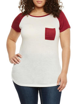 Plus Size Short Sleeve Raglan T Shirt - BURGUNDY - 1915058933406
