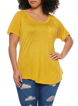 Plus Size Scoop Neck Pocket Tee - MUSTARD - 1915058938041