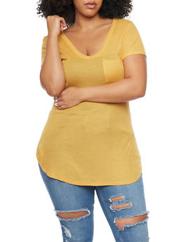 Plus Size V Neck Ribbed Pocket Tee - MUSTARD - 1915058938051