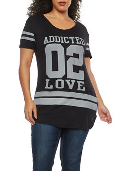 Plus Size Addicted 2 Love Graphic T Shirt - 1915062701460