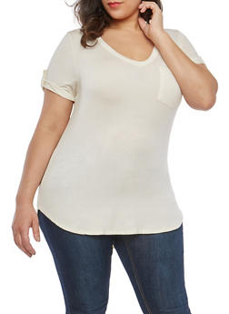 Plus Size Tabbed Sleeve T Shirt - 1915074280101