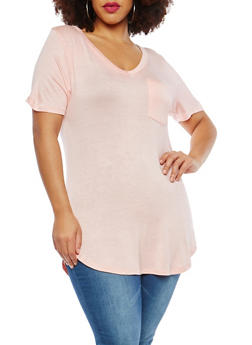 Plus Size V Neck Tunic T Shirt - 1915074280103
