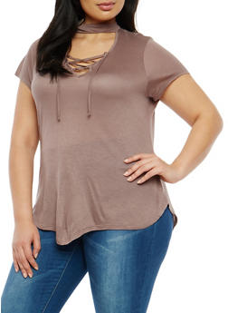 Plus Size Choker Neck Lace Up Top - MOCHA - 1915074280329