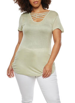 Plus Size Caged Neck Tunic Top - 1915074280901