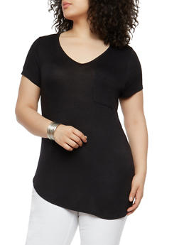 Plus Size Solid V Neck T Shirt - 1915074281001