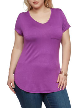 Plus Size Solid V Neck T Shirt - 1915074281001