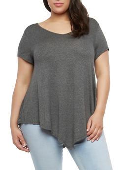 Plus Size Basic Asymmetrical Top - 1915074281006