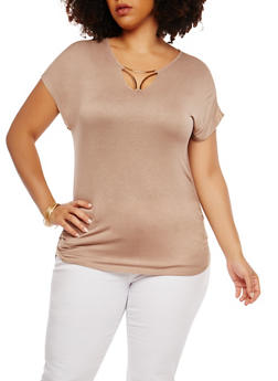 Plus Size Metallic Neck Detail Top - 1915074281160
