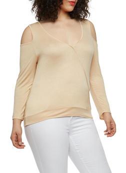 Plus Size Stitch Trim Cold Shoulder Top - 1915074282003