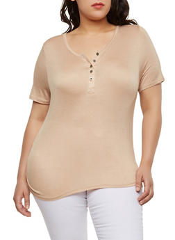 Plus Size Basic Henley Top - 1915074282004