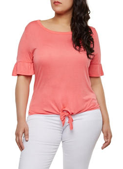 Plus Size Solid Tie Front T Shirt - 1915074282008