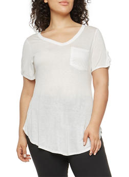 Plus Size Tabbed Sleeve T Shirt - WHITE - 1915074285040